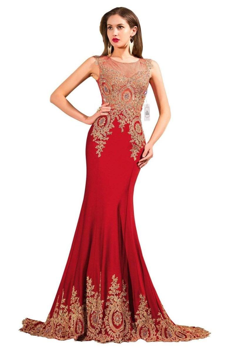 rote Brautkleider figurbetonend Oberteil goldfarbige Verzierungen