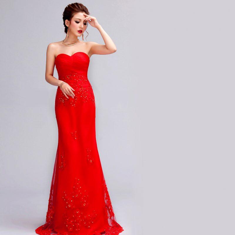 rote Brautkleider herrliches Modell in Knallrot