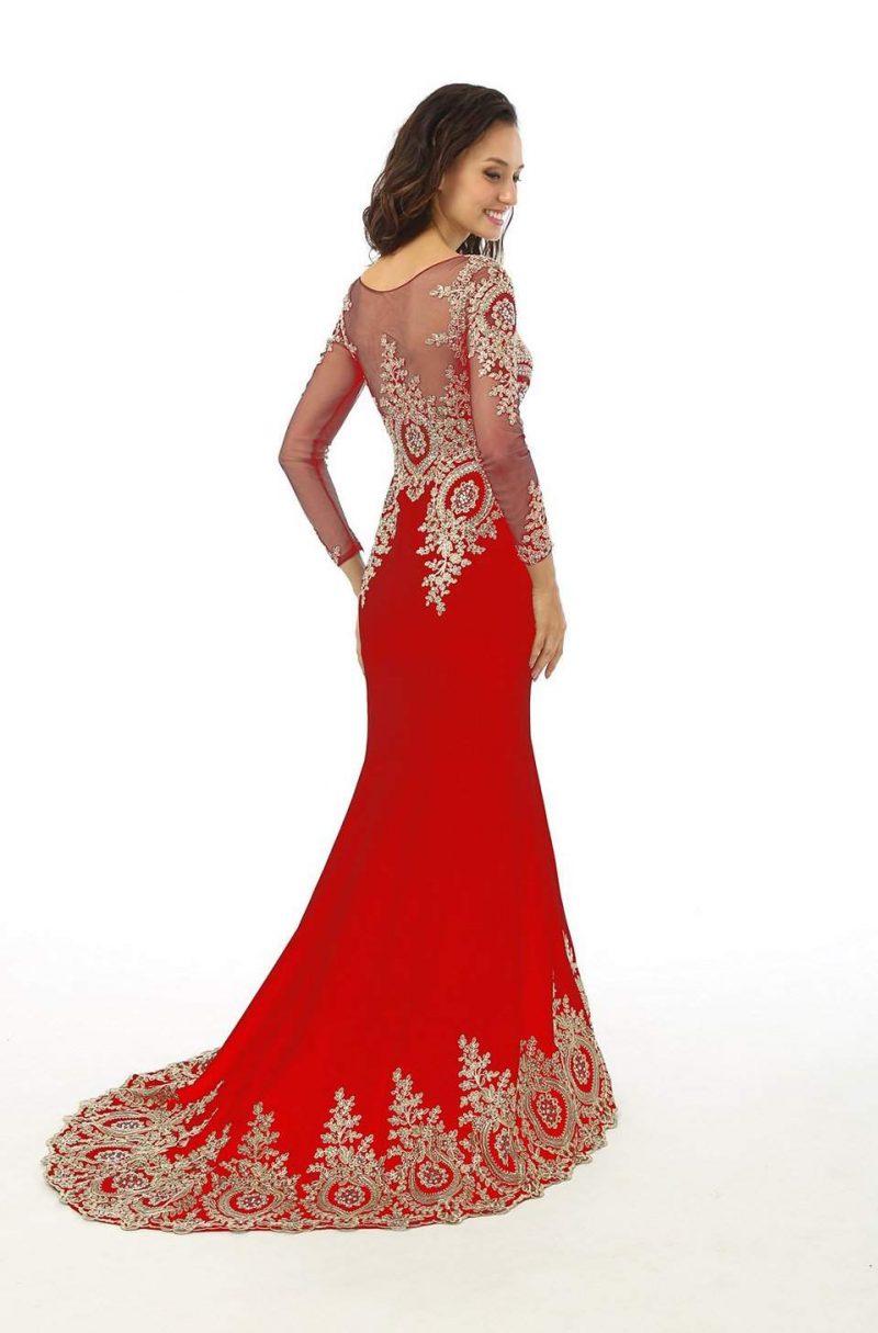 rote Brautkleider rückenfrei eindrucksvolle Verzierungen