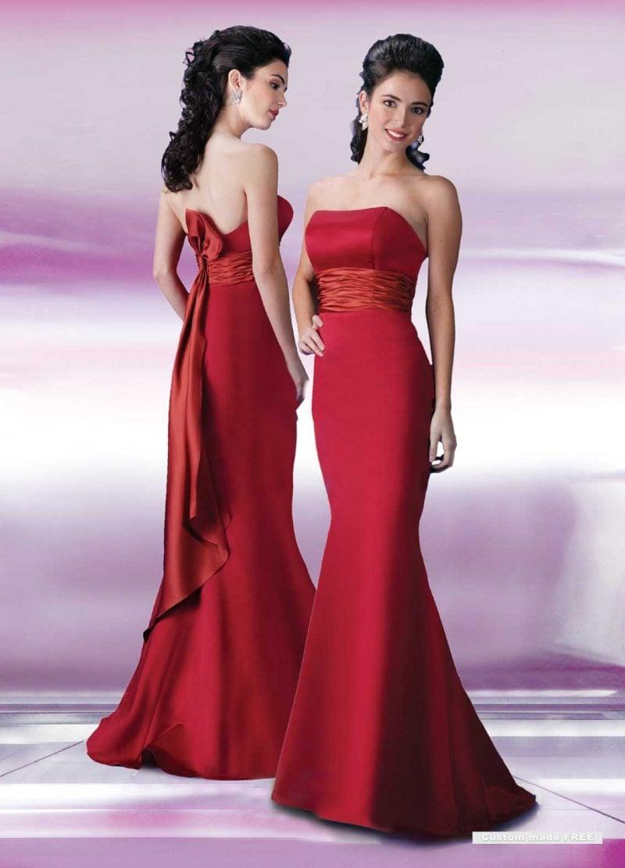 rote Brautkleider Meerjungfrau mit Gürtel
