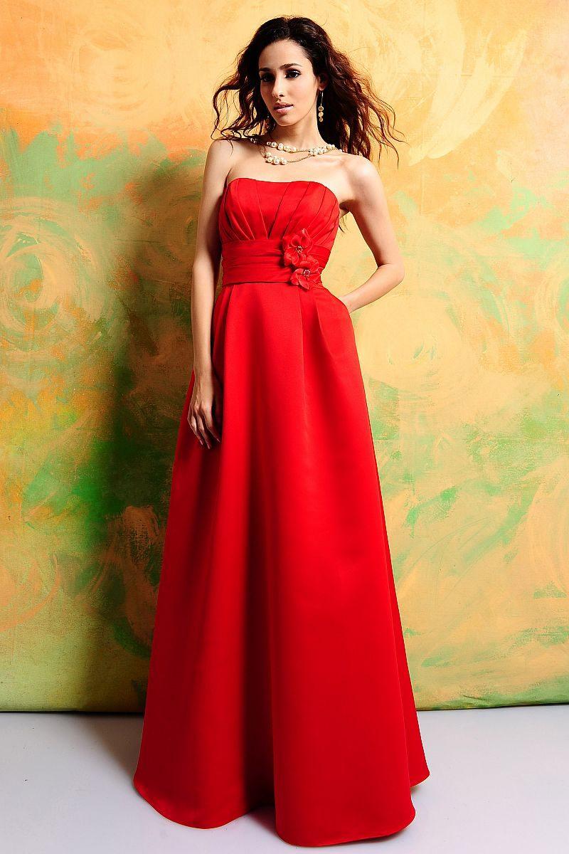 rote Brautkleider schulterfrei geradlinig Gürtel