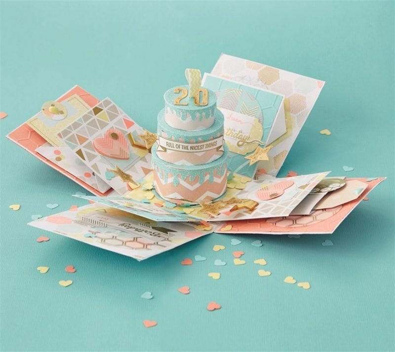 Explosionsbox Anleitung Geburtstag 3D Torte