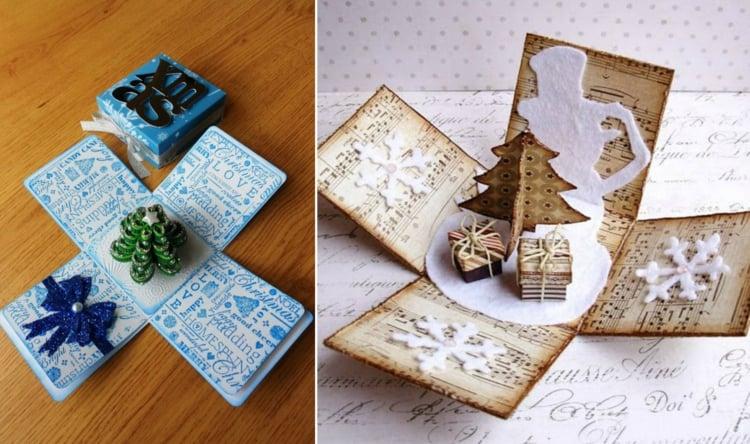 Explosionsbox Anleitung Weihnachten Tannenbaum mit Geschenken
