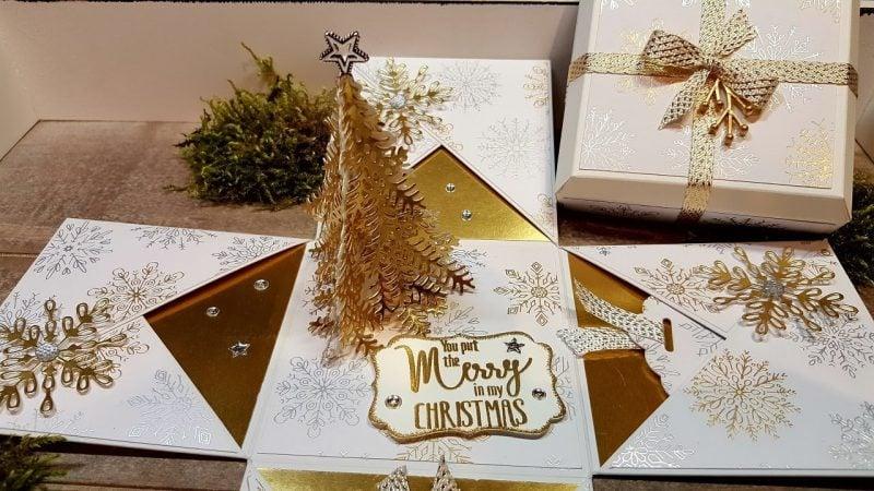 Explosionsbox Anleitung Weihnachtsbaum goldfarbig wirklich originell