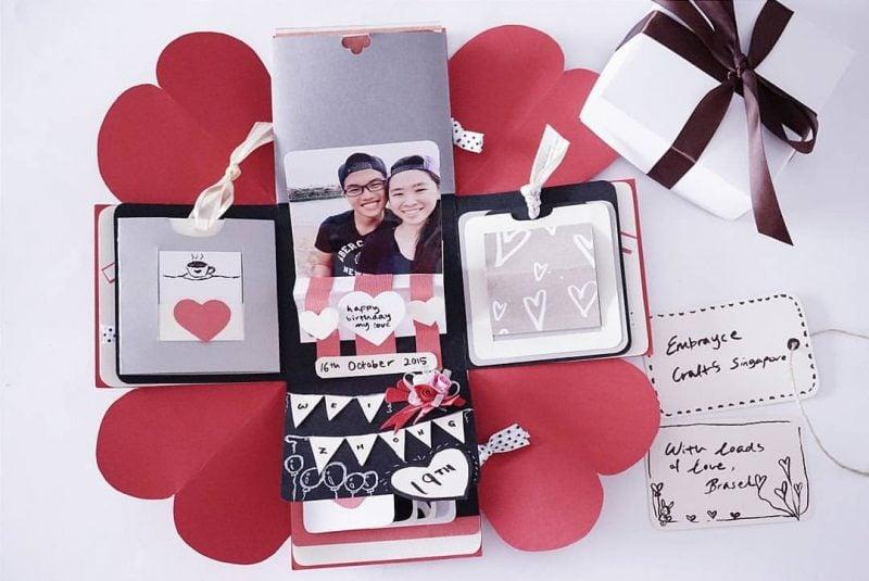 Explosionsbox Anleitung tolle Bastelidee zu Valentinstag