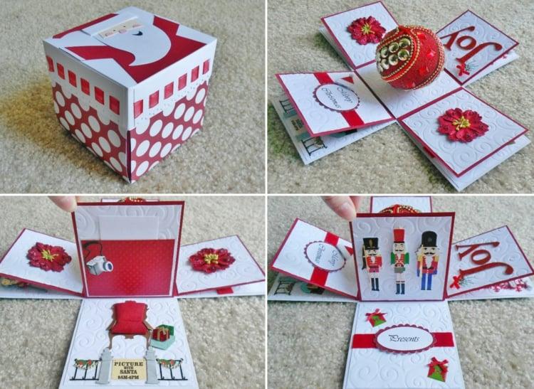 Explosionsbox Anleitung Weihnachtskugel Grusskarte originell