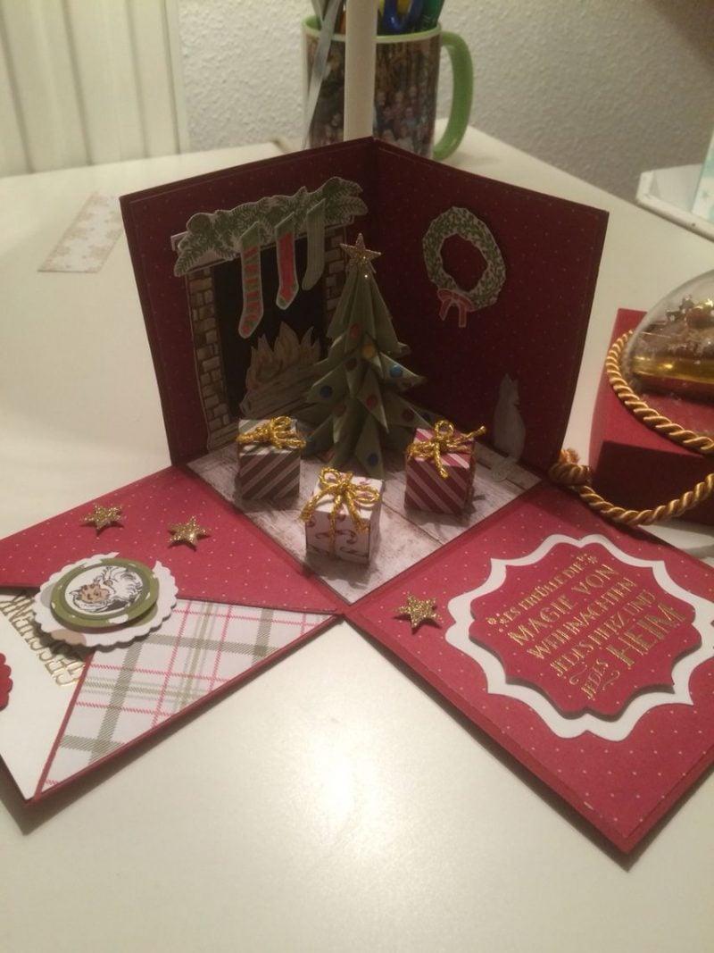 Explosionsbox Anleitung kleine Figuren 3D Weihnachtsbaum Geschenke