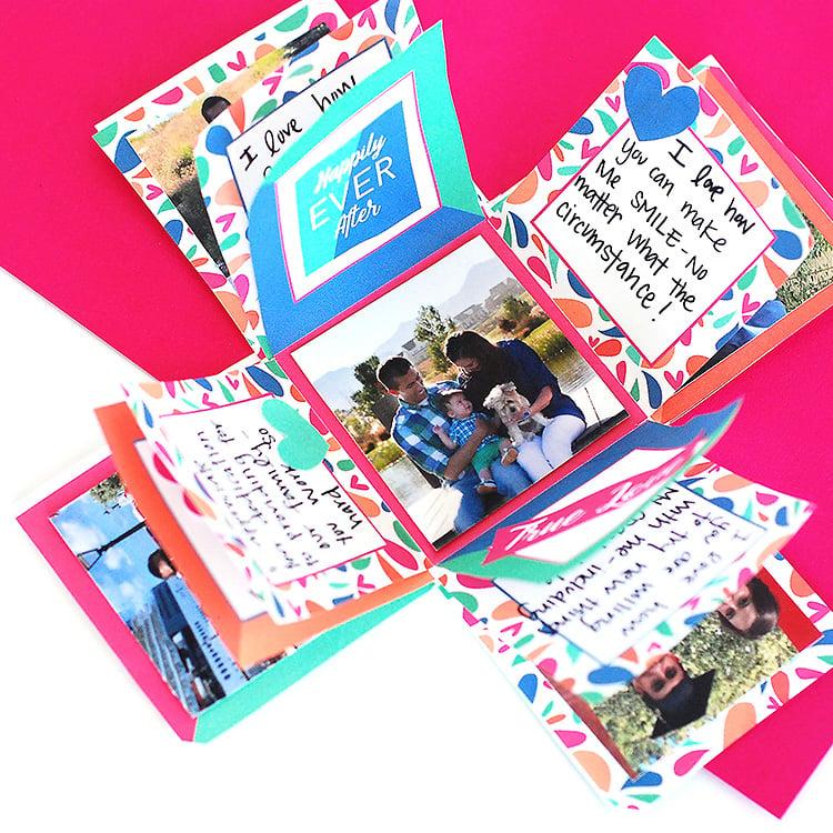 Explosionsbox Anleitung mit Foto dekorieren herrliche Idee