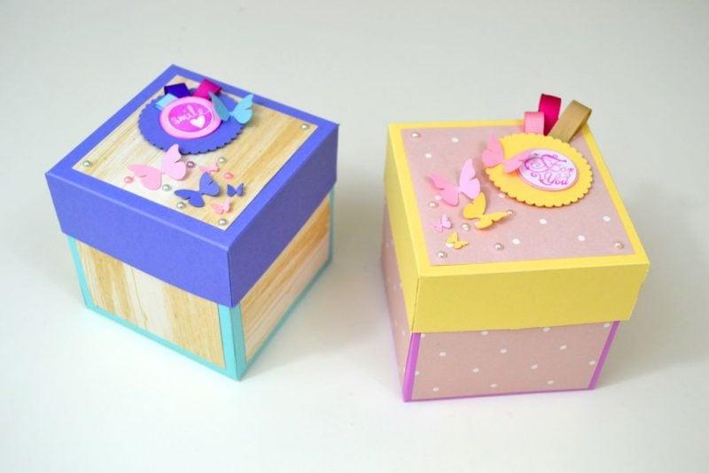 Explosionsbox Anleitung originelle Idee Deko Schmetterlinge