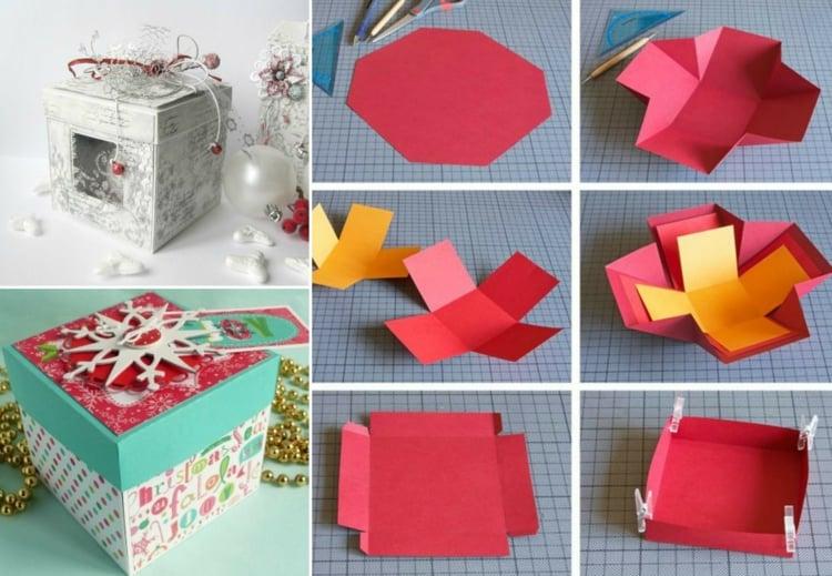 Explosionsbox Anleitung in Bildern quadratische Schachtel