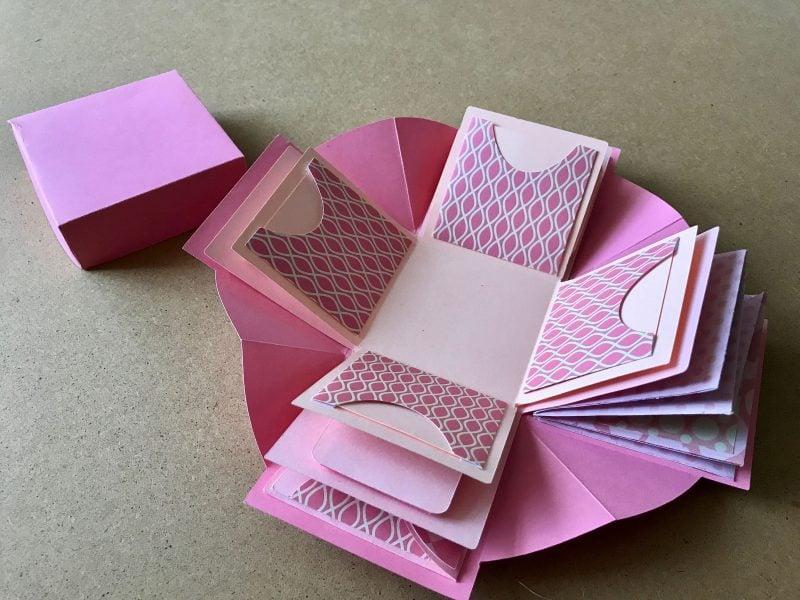 Explosionsbox Anleitung rosa Papaier