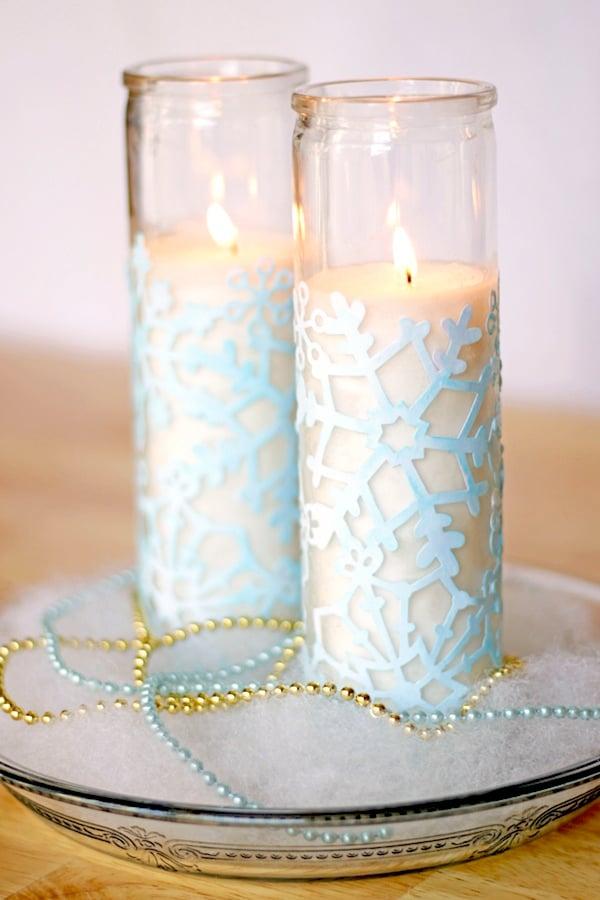 Schneeflocken basteln Kerzenlichter dekorieren
