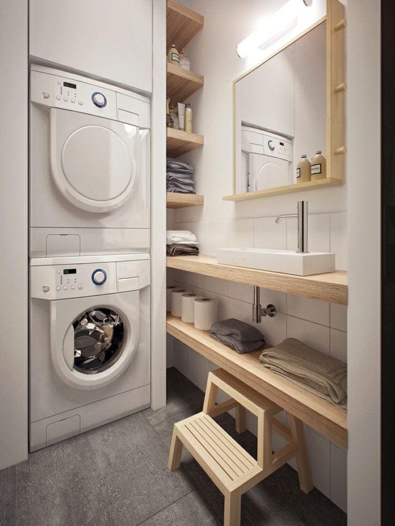 Schrank für Waschmaschine und Trockner eingebaut Badezimmer klein
