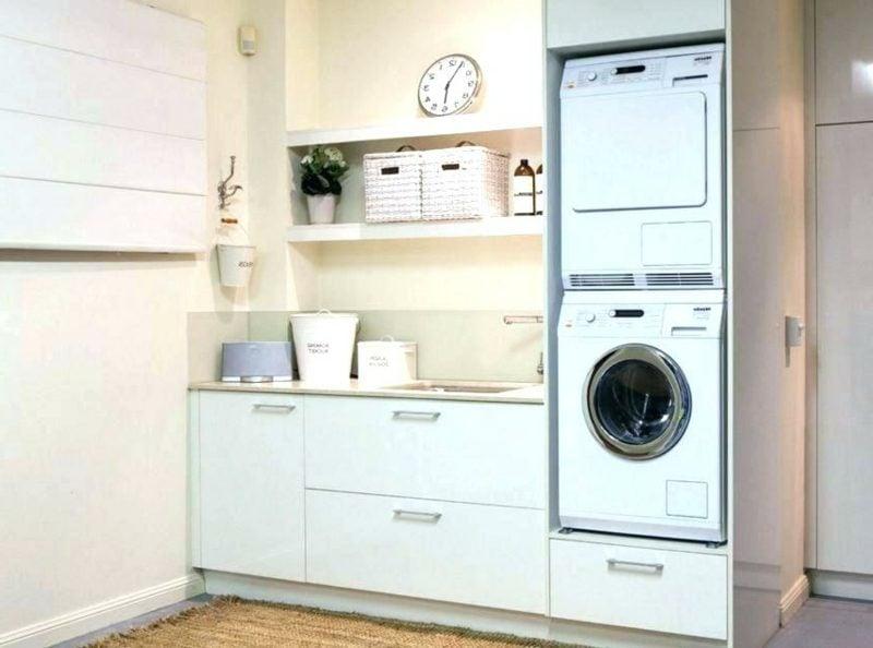 Schrank für Waschmaschine und Trockner eingebaut Regale Küche