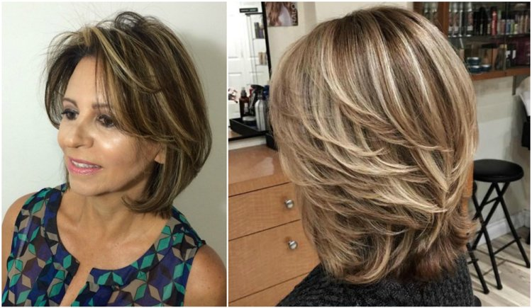 Frisuren 50 plus mittellang Highlights