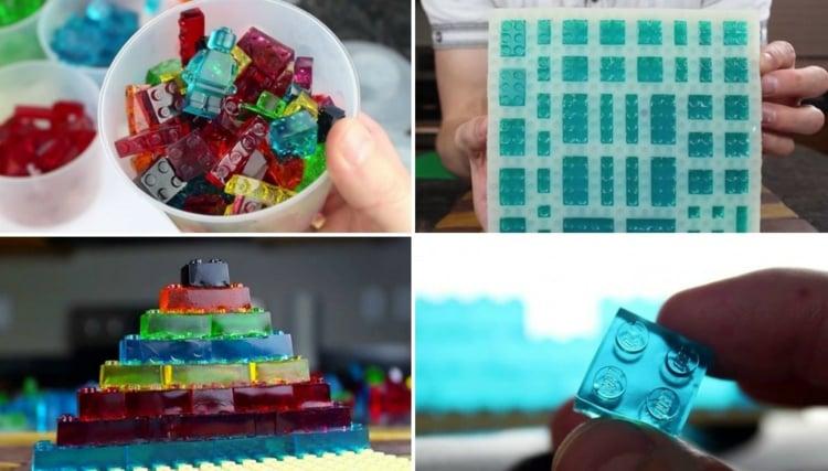 Gummibärchen Torte Fruchtgummi selber machen Lego