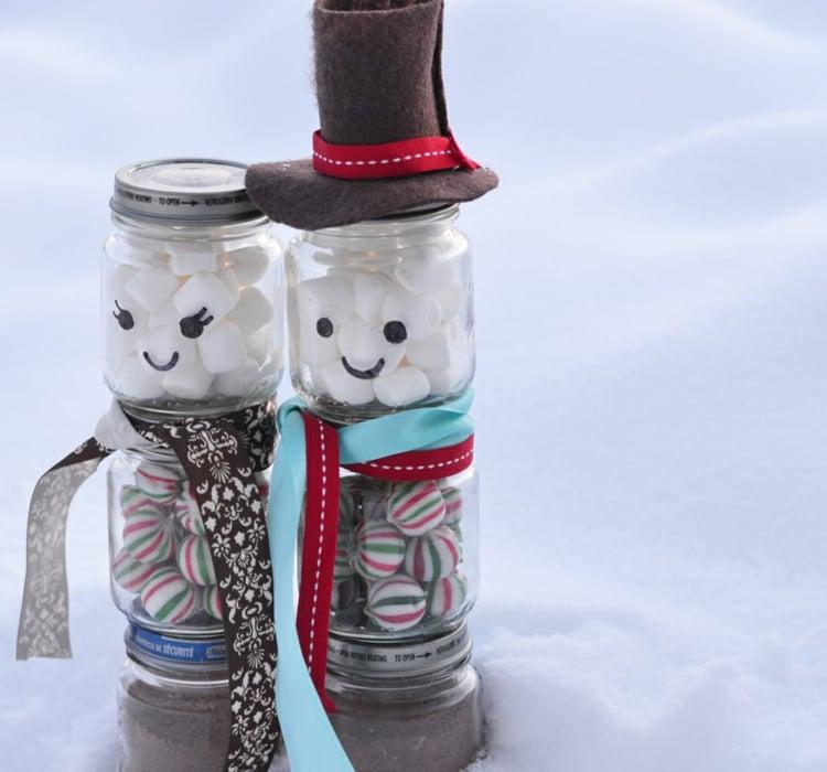 essbare Geschenke im Glas Bonbons Schneemann
