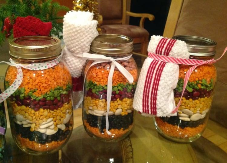 essbare Geschenke im Glas Hülsenfrüchte