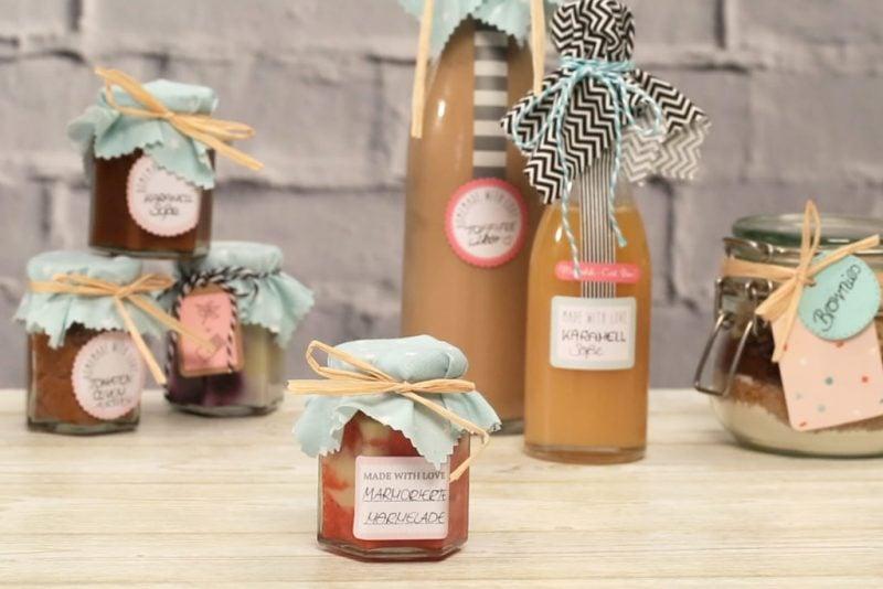 essbare Geschenke im Glas selbst gemachte Marmelade