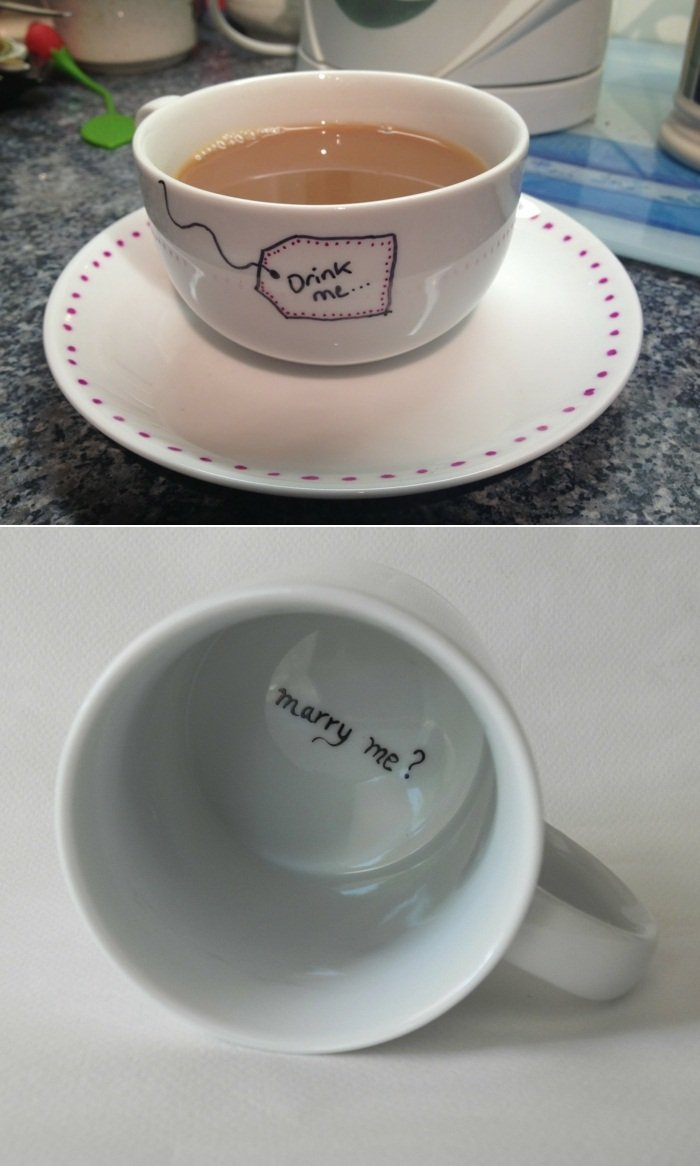 Hochzeitsantrag Kaffeetasse beschriften