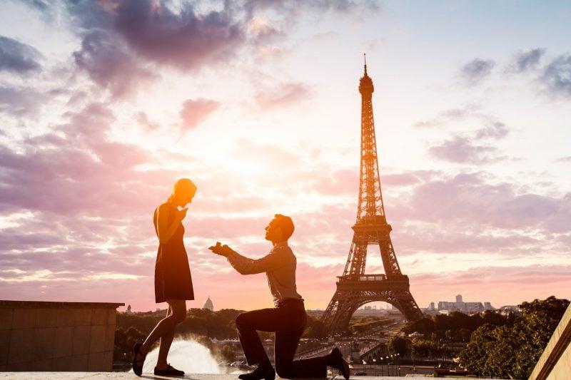 Hochzeitsantrag den perfekten Ort Eiffelturm