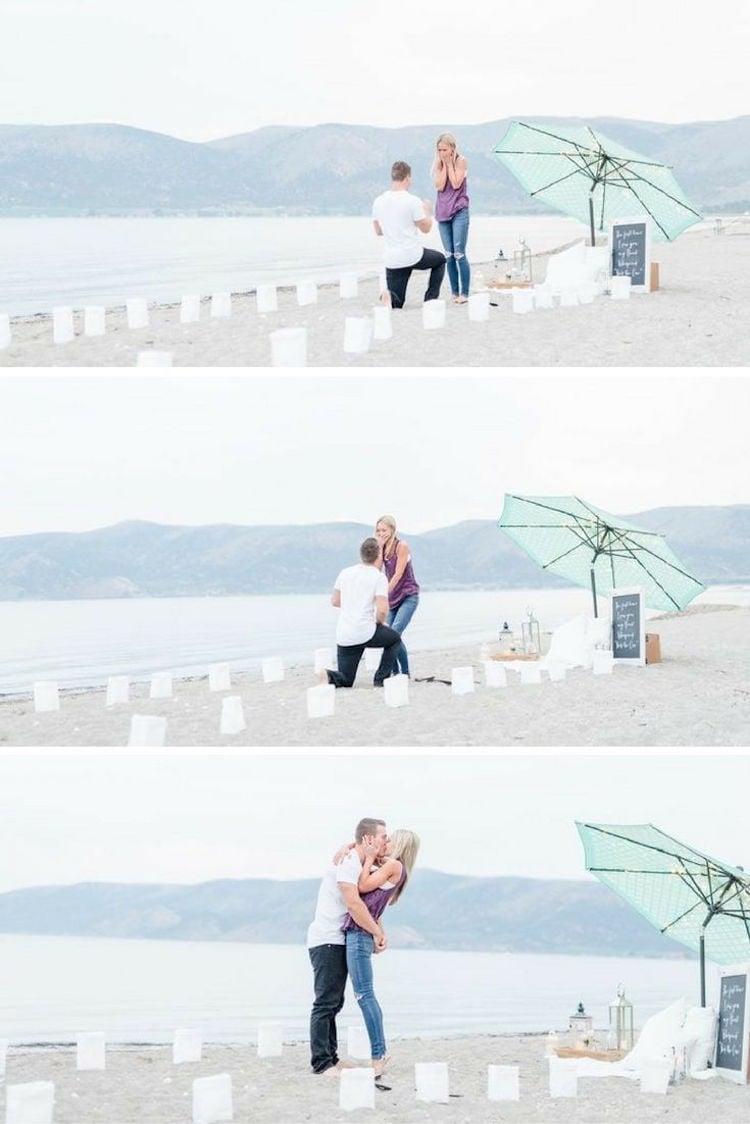 Hochzeitsantrag am Strand Fotografer