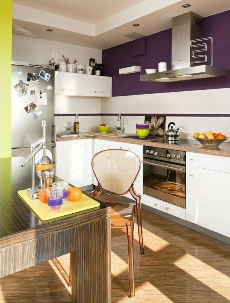 Küche streichen Akzentfarbe Aubergine
