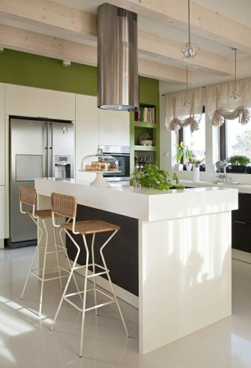 Küche streichen Weiss Dunkelgrün