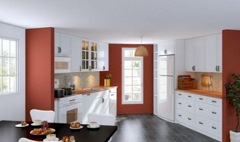 Küche streichen Weiss Akzentfarbe Rot
