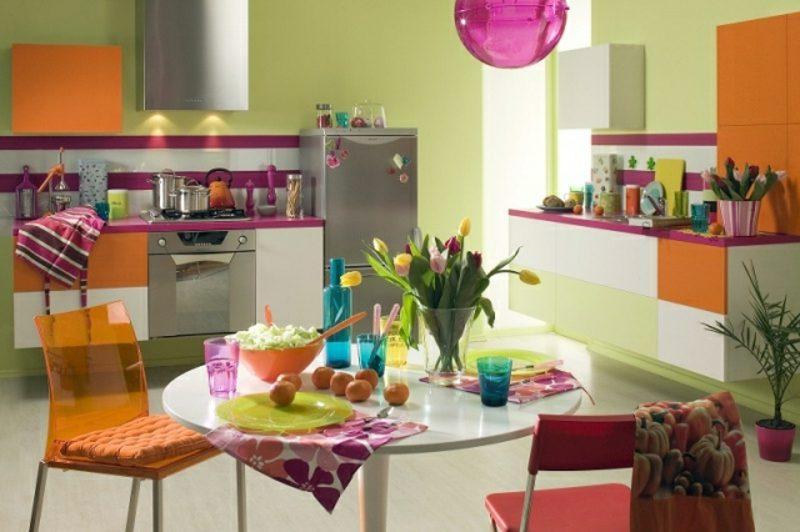 Küche streichen Pastellfarben bunt fröhlich