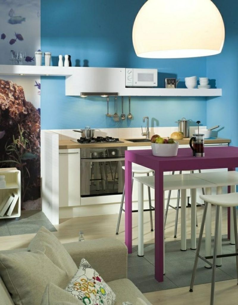 Küche streichen zwei blaue Nuancen originell