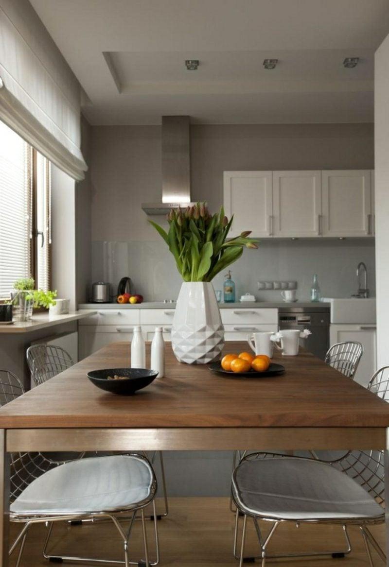 Küche streichen Perlengrau Weiss