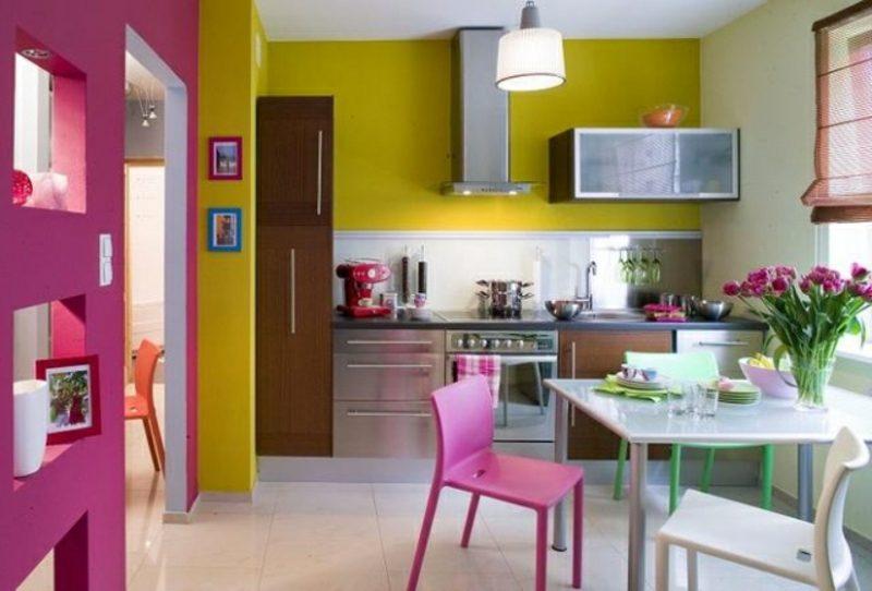 Küche streichen Neongelb origineller Look