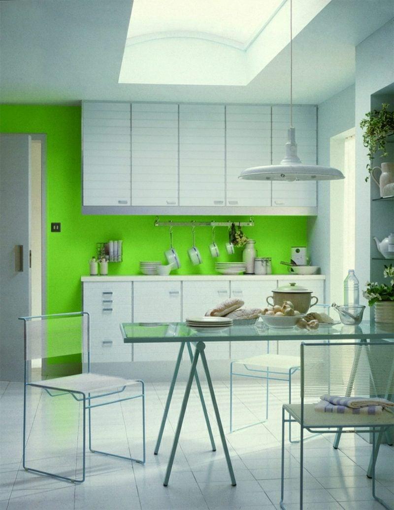 Küche streichen Neongrün weisse Möbel