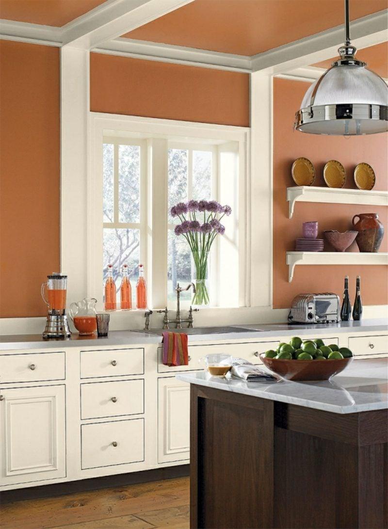 Küche streichen Dunkelorange Weiss