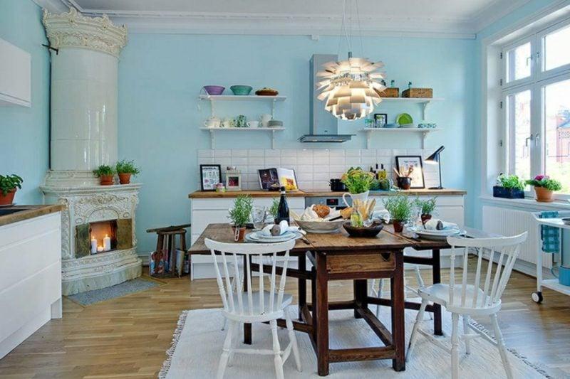 Küche streichen pastelliges Blau