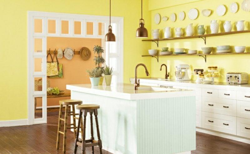 Küche streichen Pastellgelb gemütlich