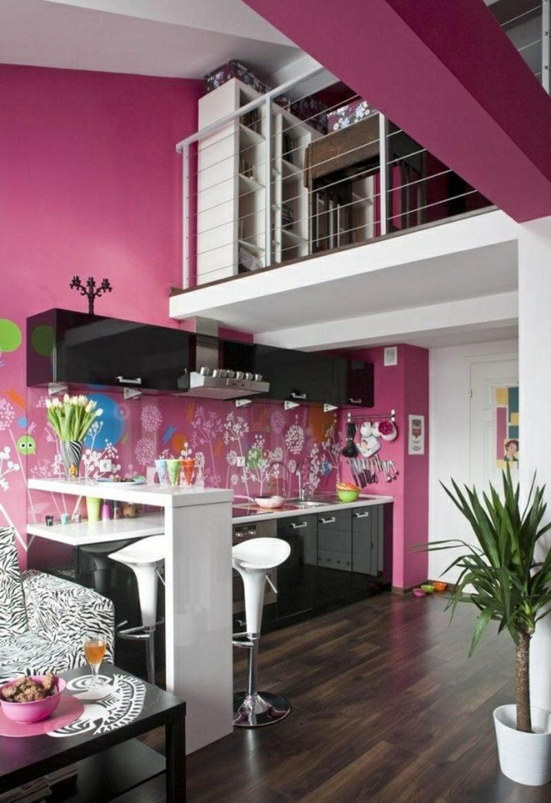 Küche streichen Fuchsia Rückwand originell