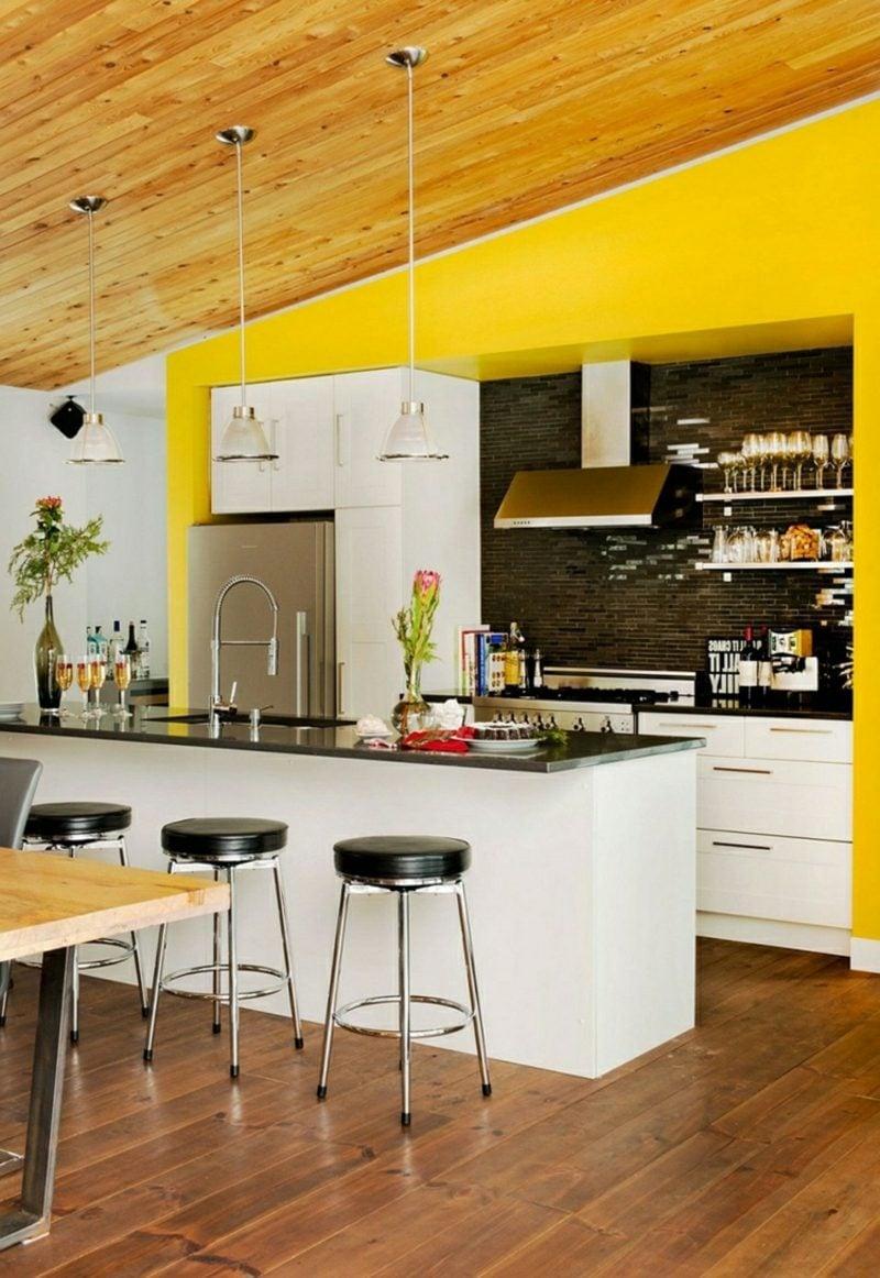 Küche streichen Sonnengelb gemütlich