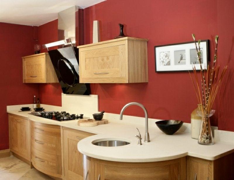 Küche streichen Ziegelrot gesättigt
