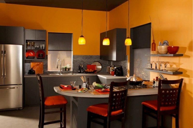 Küche streichen dunkles Orange originell