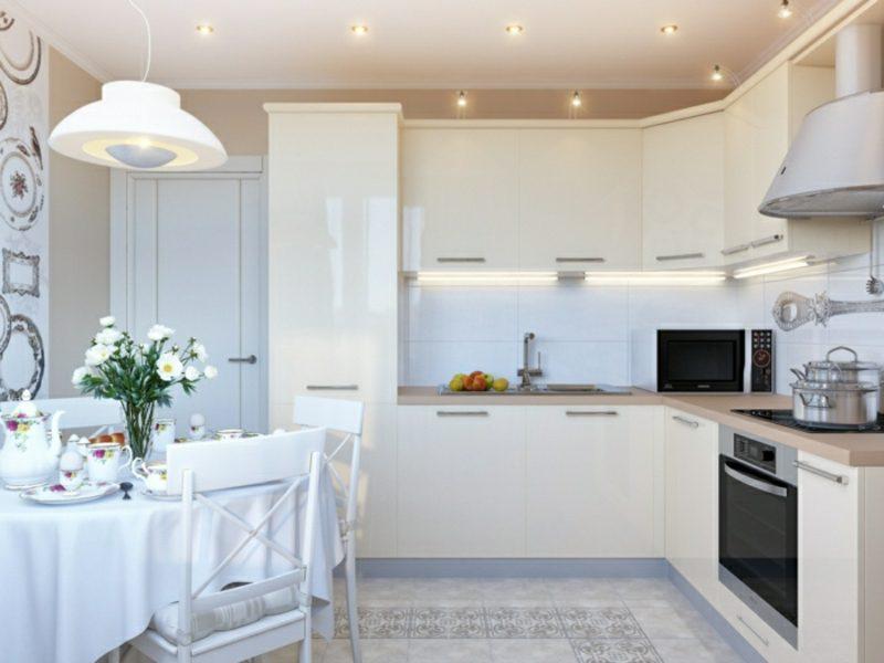 Küche streichen Cremefarbe modern