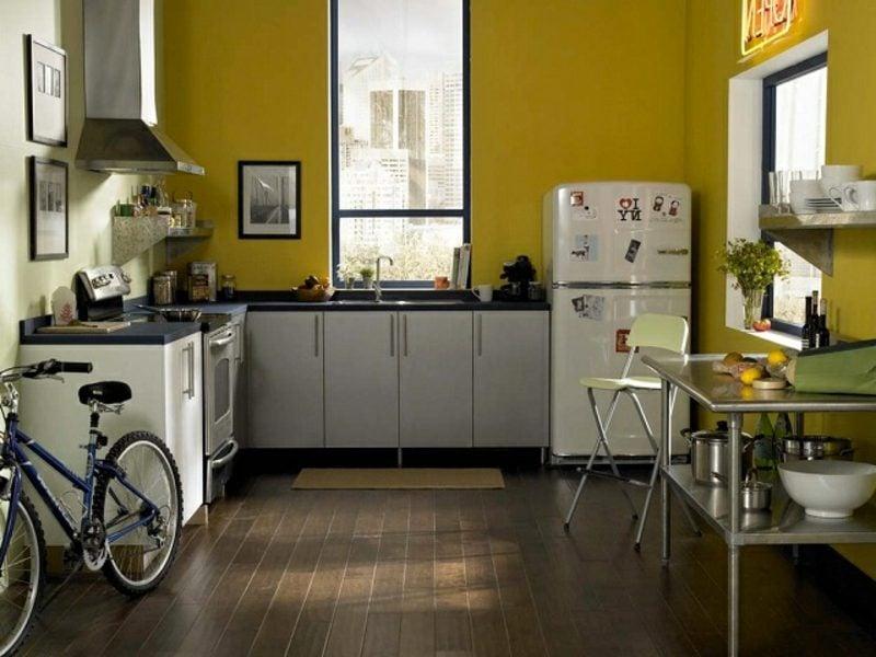 Küche streichen Senfgelb Vintage Look