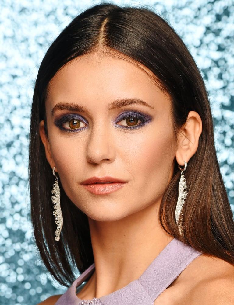 braune Augen schminken blaue Lidschatten Nina Dobrev
