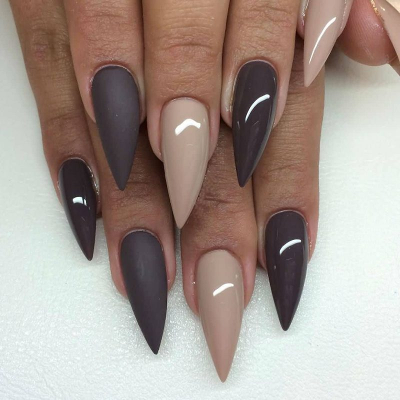 Stiletto Nails rosa schokobraun