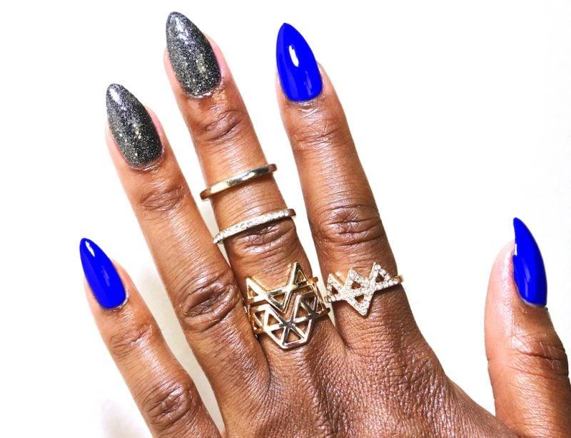 Stiletto Nails Neonblau Silber