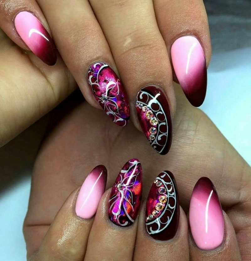 Stiletto Nails rosa violett Ornamente