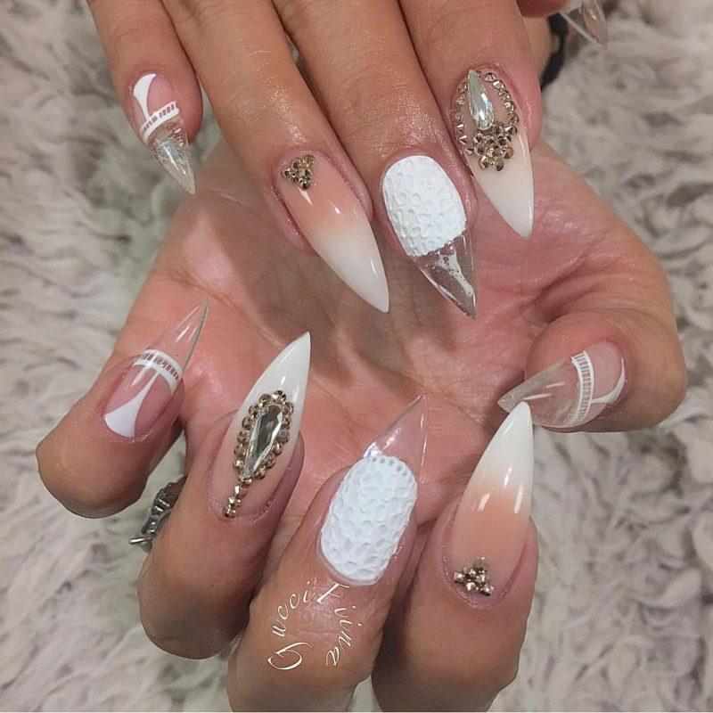 Stiletto Nails weiß silbern durchsichtig super elegantes Design