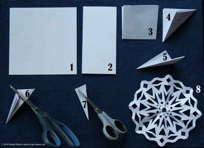 Schneeflocken basteln DIY Ideen mit Papier