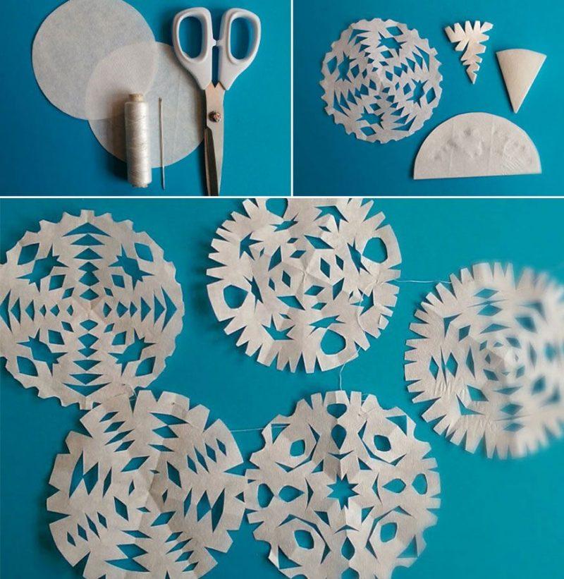 Schneeflocken basteln Papier Anleitung in Bildern